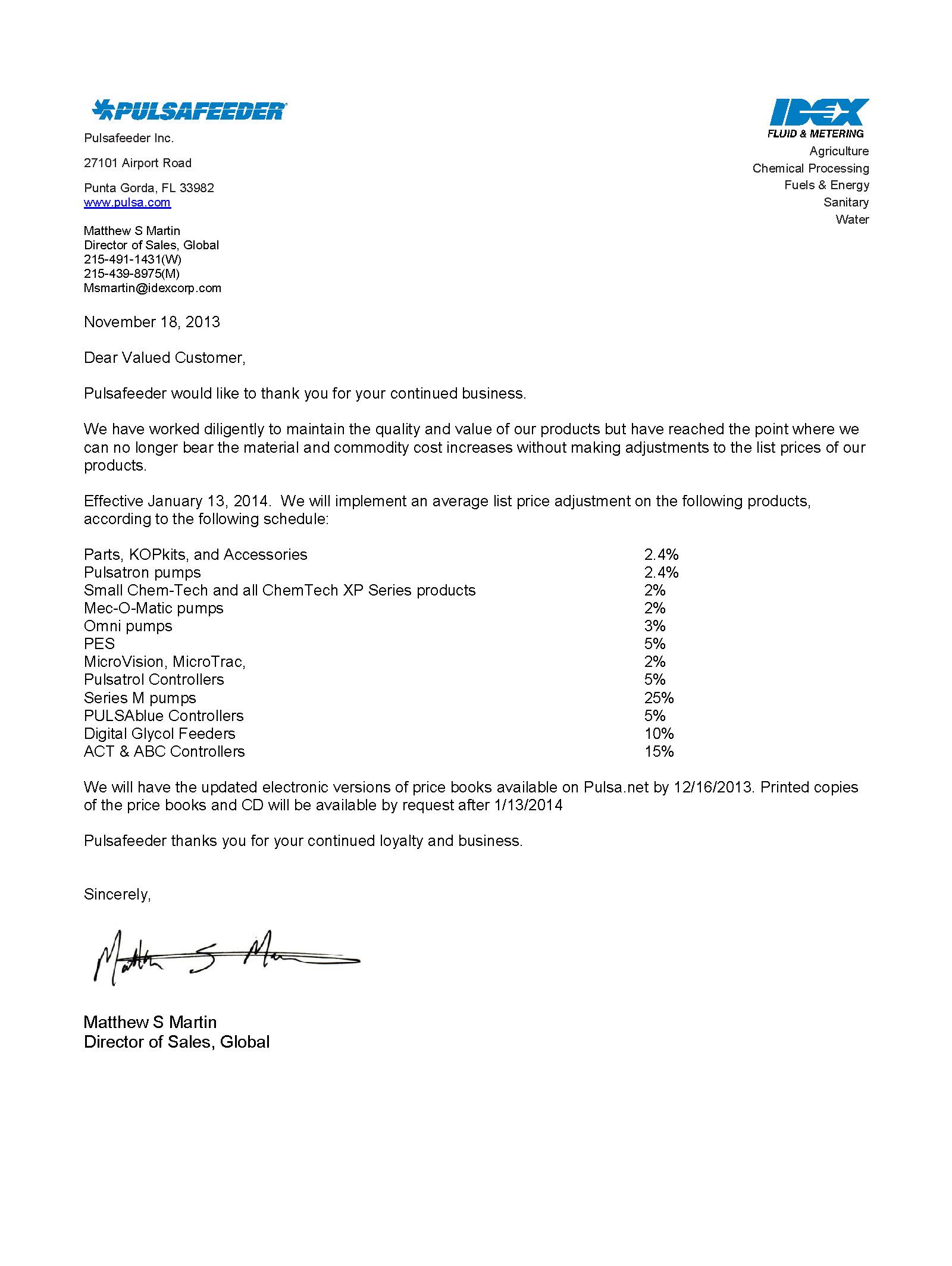 spo price update letter