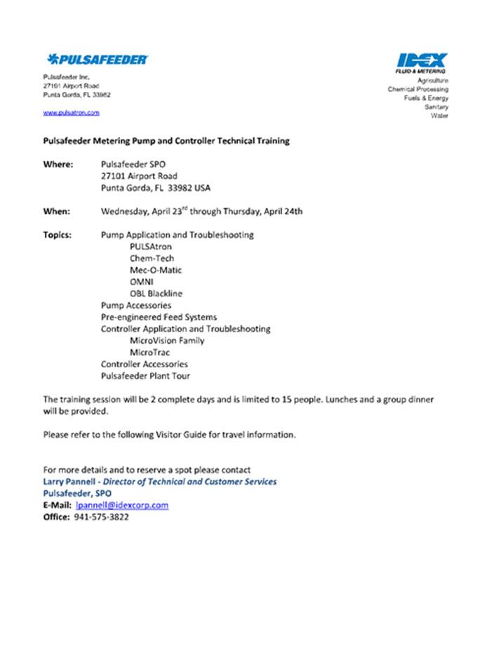 Pulsafeeder Metering Pump Tech Training Quantrol